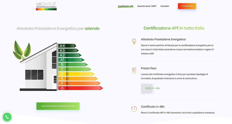 sito E-commerce • mioAPE • Certificazione APE